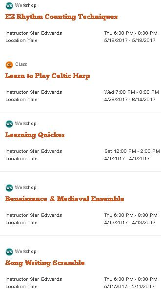 Star Edwards Classes and Music Workshops
